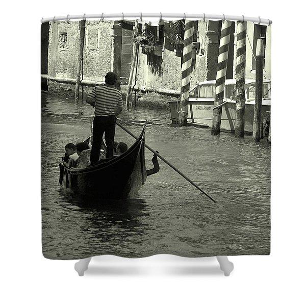 Gondolier In Venice   Shower Curtain
