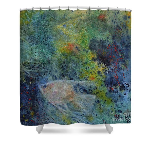 Shower Curtain featuring the painting Gone Fishing by Karen Fleschler