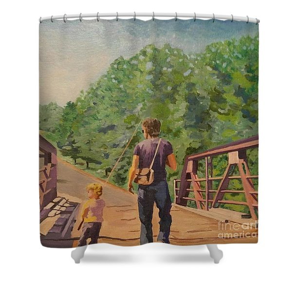 Gone Fishing With Dad Shower Curtain