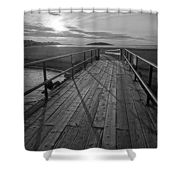 Good Harbor Beach Footbridge Shadows Black And White Shower Curtain