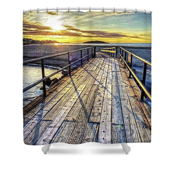 Good Harbor Beach Footbridge Shadows Shower Curtain