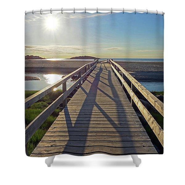 Good Harbor Beach Footbridge Sunny Shadow Shower Curtain
