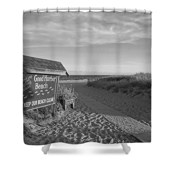 Good Harbor Sign At Sunset Black And White Shower Curtain
