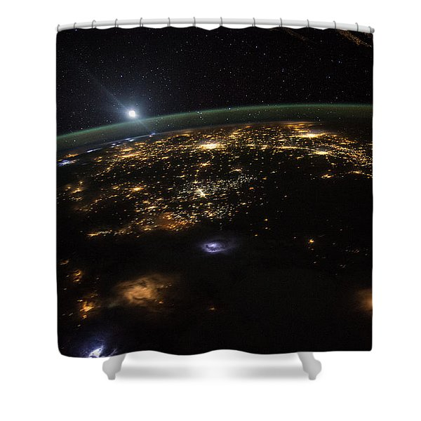 Good Morning From The International Space Station Shower Curtain