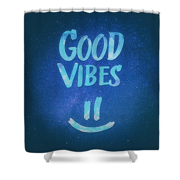 Good Vibes  Funny Smiley Statement Happy Face Blue Stars Edit Shower Curtain