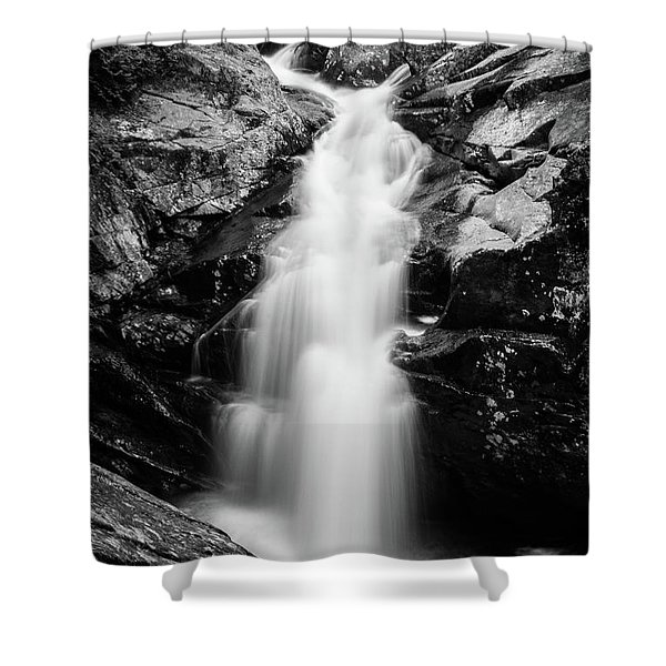 Gorge Waterfall In Black And White Shower Curtain