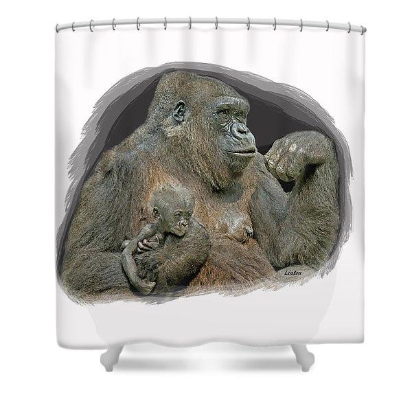 Gorilla Motherhood Shower Curtain