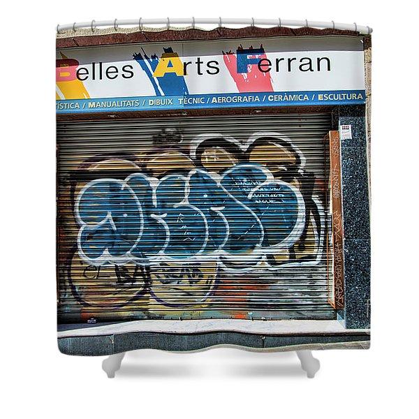 Graffiti Barcelona La Rambia Iv  Shower Curtain