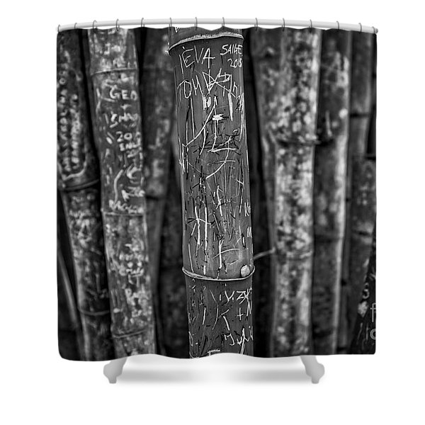 Graffiti Laden Bamboo Black And White Shower Curtain