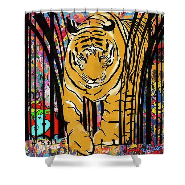 Shower Curtain featuring the mixed media Graffiti Tiger by Sassan Filsoof