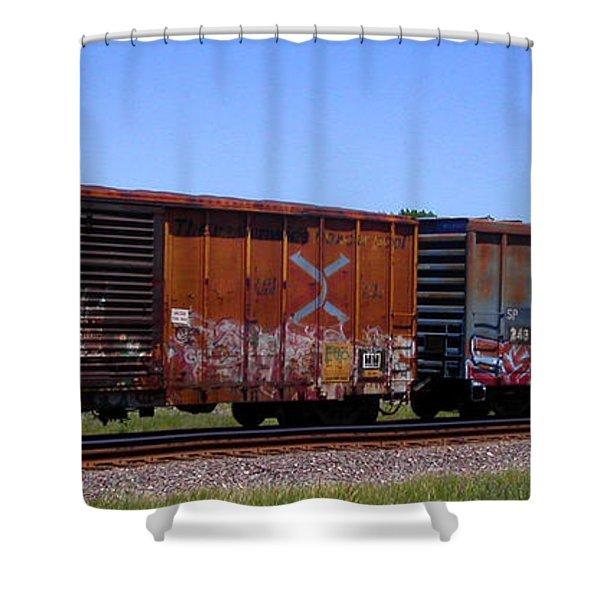 Graffiti Train With Billboard Shower Curtain