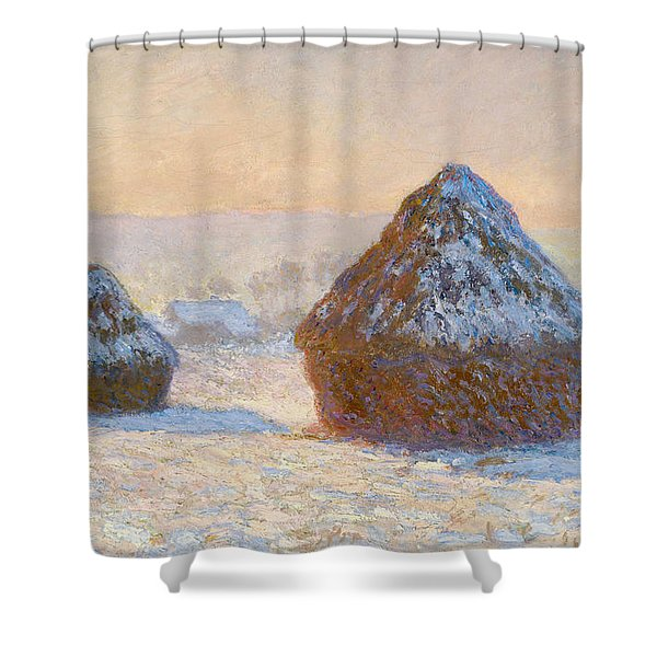 Grainstacks In The Morning, Snow Effect, 1891 Shower Curtain