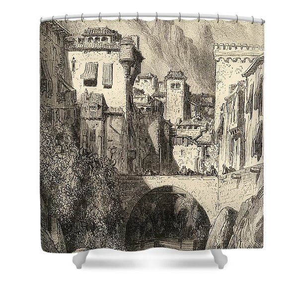 Granada,spain. The Banks Of The Darro Shower Curtain