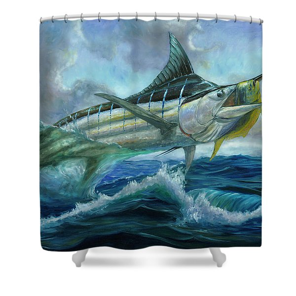 Grand Blue Marlin Jumping Eating Mahi Mahi Shower Curtain
