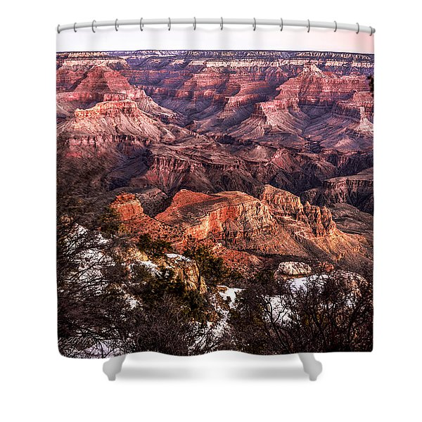 Grand Canyon Winter Sunrise Landscape At Yaki Point Shower Curtain