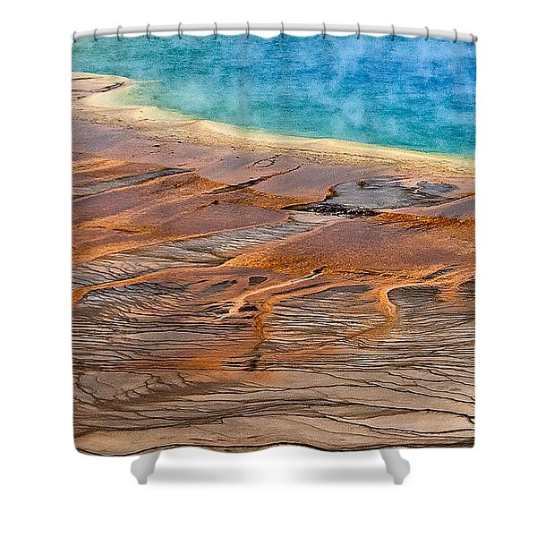 Shower Curtain featuring the photograph Grand Prismatic Spring by Ken Barrett