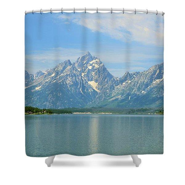 Grand Teton Over Jackson Lake Shower Curtain