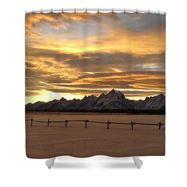Grand Tetons In January Glory Shower Curtain