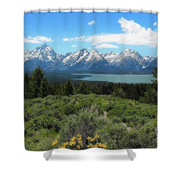 Shower Curtain featuring the photograph Grand Tetons by Jemmy Archer