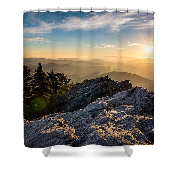 Grandfather Mountain Sunset Blue Ridge Parkway Western Nc Shower Curtain