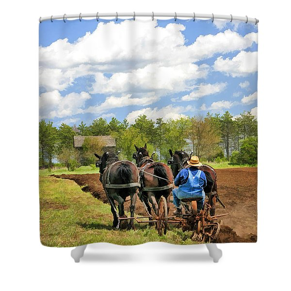 Grandpa And His Team Of Horses At Old World Wisconsin Shower Curtain