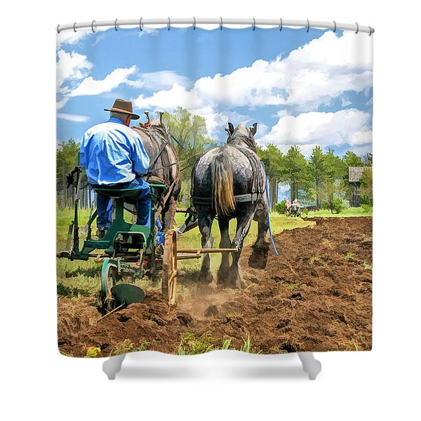 Grandpa At The Plow At Old World Wisconsin Shower Curtain
