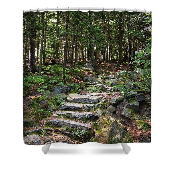 Granite Steps, Camden Hills State Park, Camden, Maine -43933 Shower Curtain