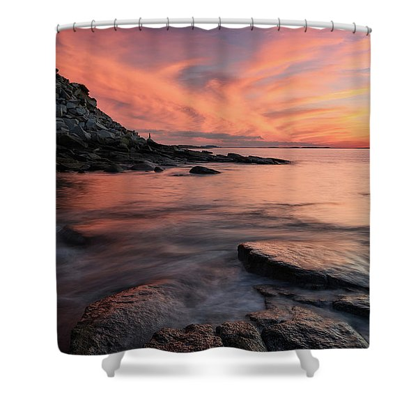 Granite Sunset Rockport Ma. Shower Curtain