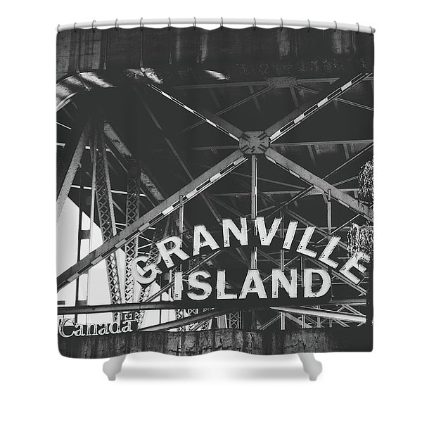 Granville Island Bridge Black And White- By Linda Woods Shower Curtain