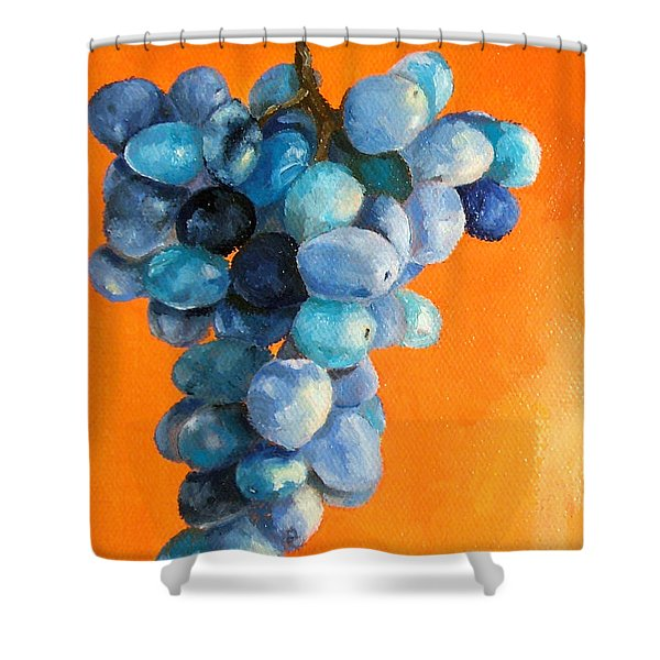 Grapes On Orange Shower Curtain by Diane Kraudelt