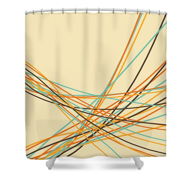 Graphic Line Pattern Shower Curtain