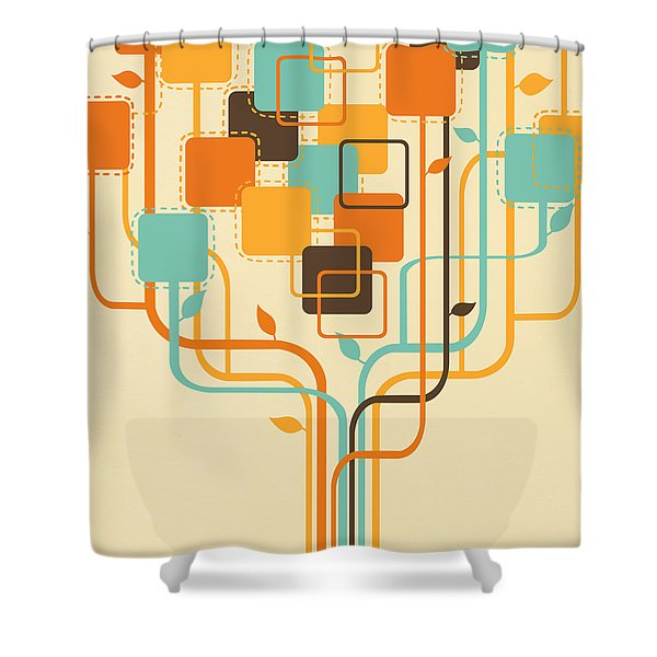 Graphic Tree Shower Curtain
