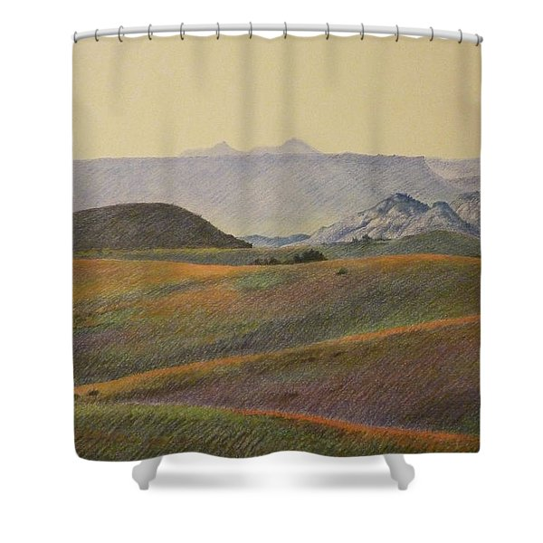 Shower Curtain featuring the pastel Grasslands Badlands Panel 2 by Cris Fulton