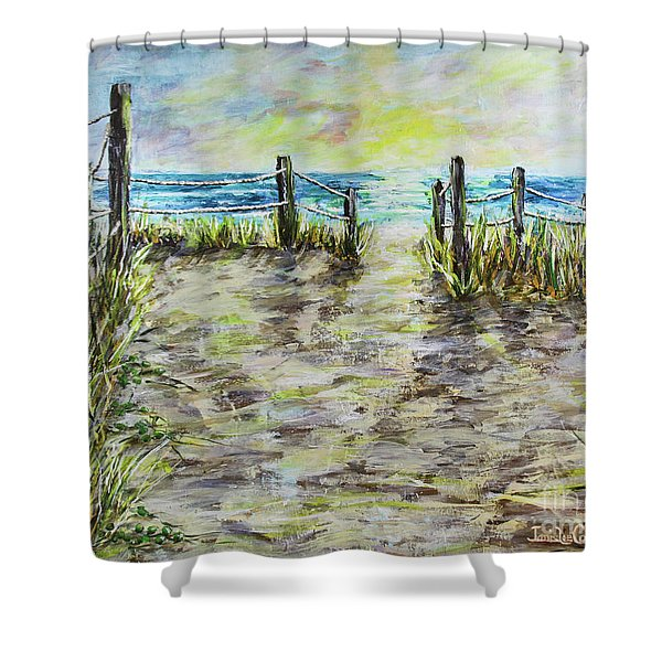 Grassy Beach Post Morning 2 Shower Curtain