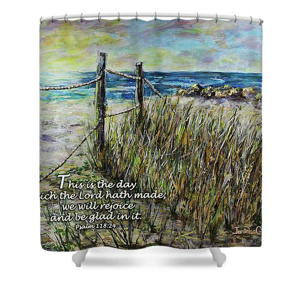 Grassy Beach Post Morning Psalm 118 Shower Curtain