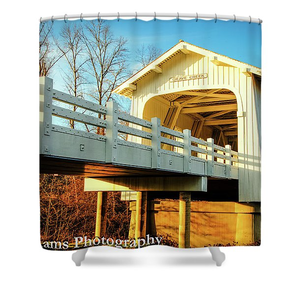 Grave Creek Covered Bridge Shower Curtain