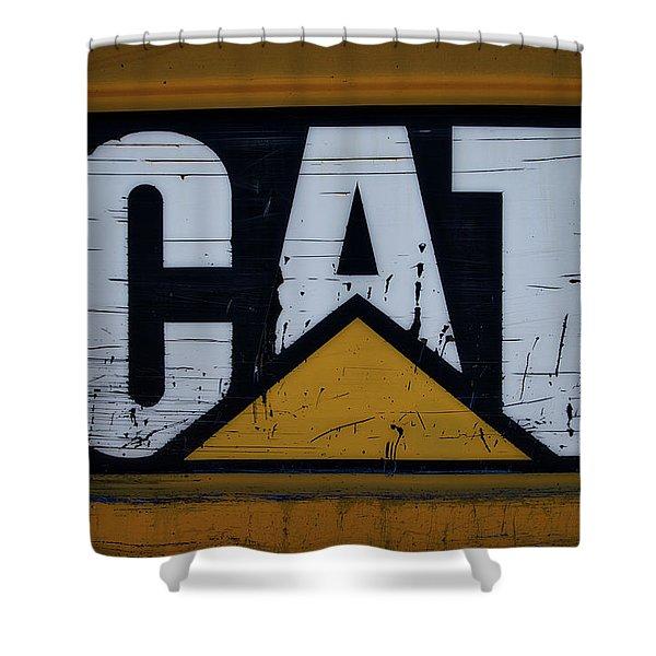 Gravel Pit Cat Signage Hydraulic Excavator Shower Curtain