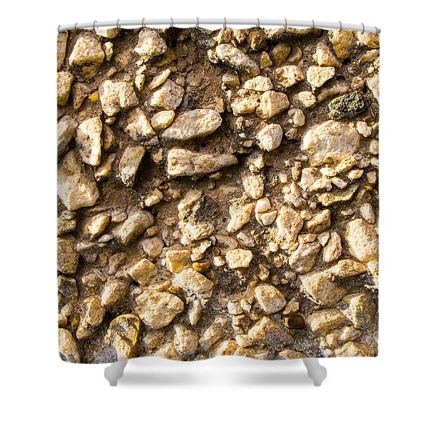 Gravel Stones On A Wall Shower Curtain