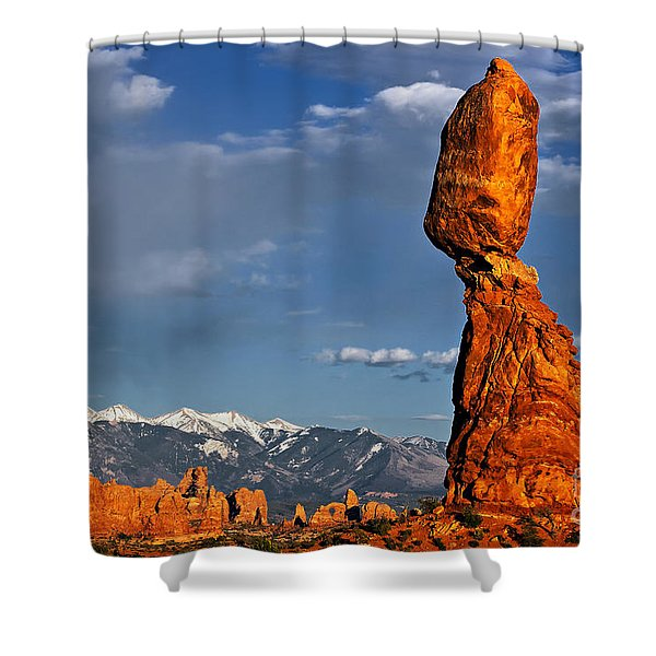 Gravity Defying Balanced Rock, Arches National Park, Utah Shower Curtain