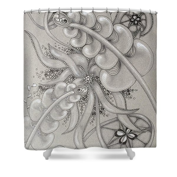 Gray Garden Explosion Shower Curtain