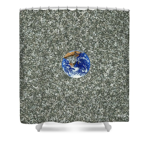 Gray Space Shower Curtain