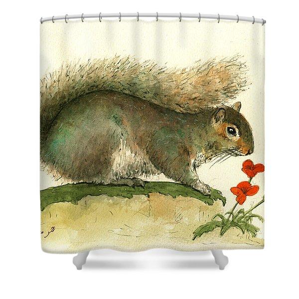 Gray Squirrel Flowers Shower Curtain