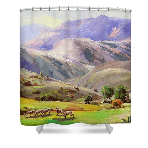Grazing In The Salmon River Mountains Shower Curtain