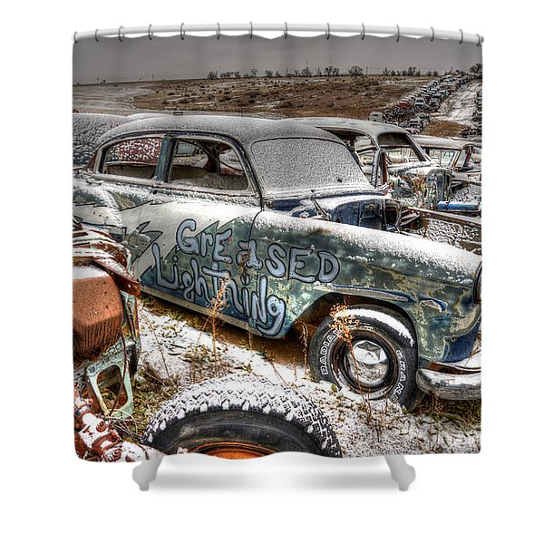 Greased Lightning Shower Curtain