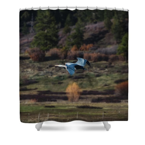 Shower Curtain featuring the photograph Great Blue Heron In Flight II by Jason Coward