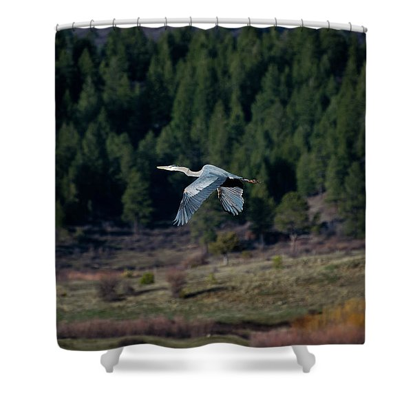 Shower Curtain featuring the photograph Great Blue Heron In Flight by Jason Coward