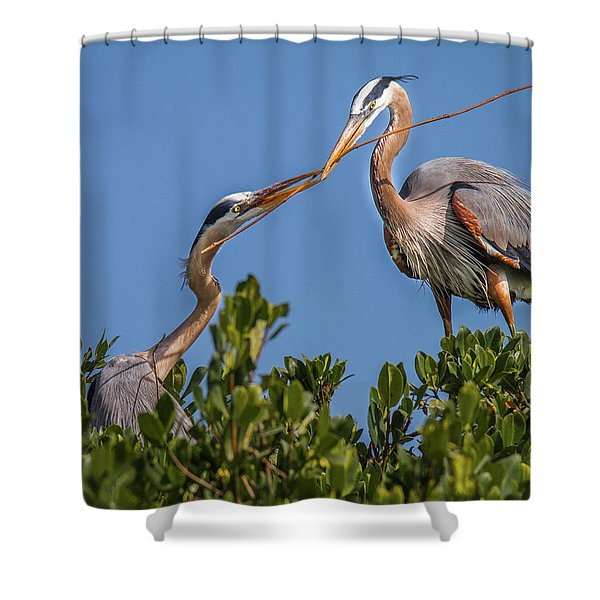 Great Blue Heron Nest Building Shower Curtain