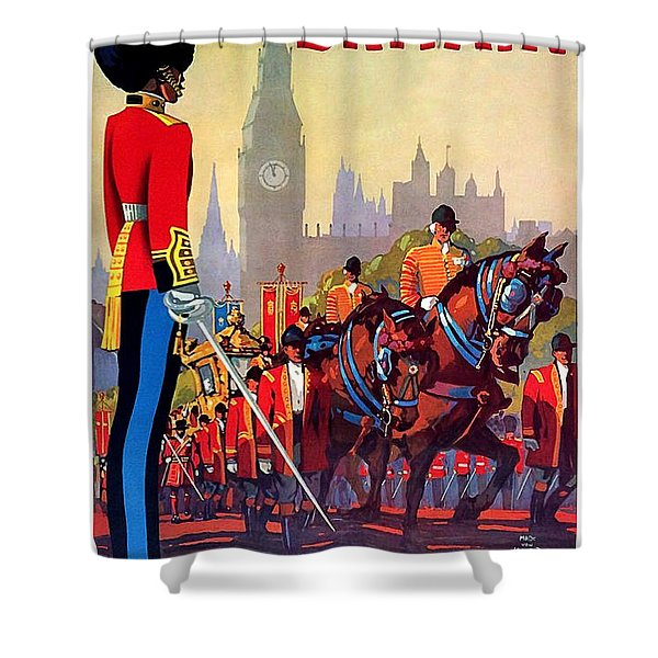 Great Britain, Royal Parade, Travel Poster Shower Curtain