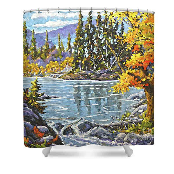 Great Canadian Lake  - Large Original Oil Painting Shower Curtain