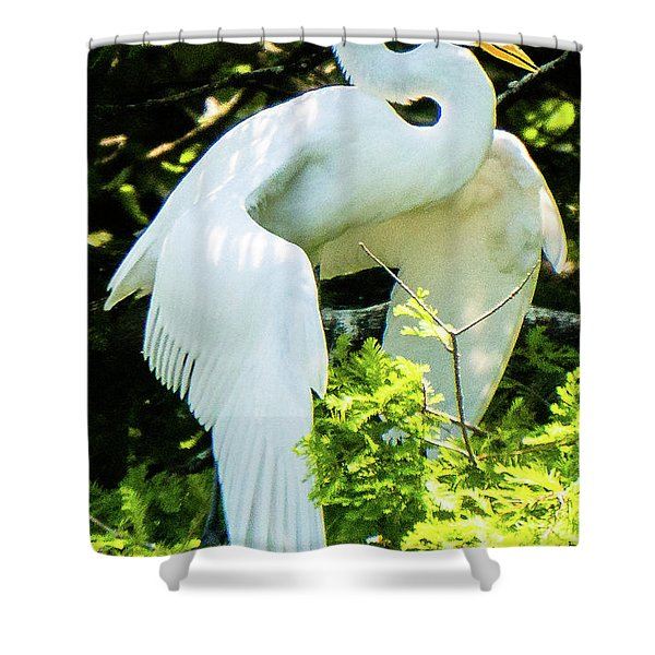 Great Egret Stretching Shower Curtain